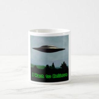 I want to believe classic white coffee mug