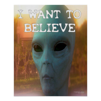 I Want To Believe Space Alien Visitor Wall Art
