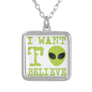 I Want To Believe Square Pendant Necklace