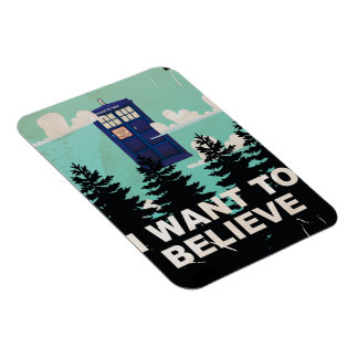 I Want to Believe Vintage Police Box Rectangular Photo Magnet