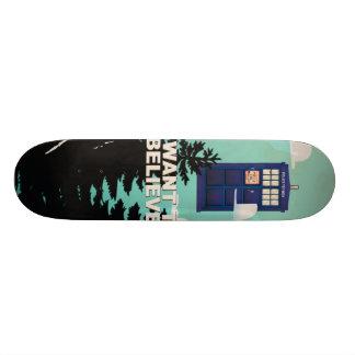 I Want to Believe Vintage Police Box Custom Skateboard
