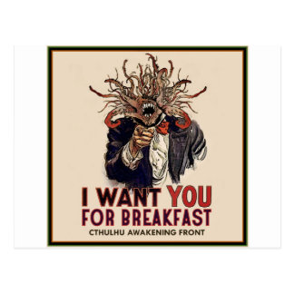 I want you for breakfast postcard