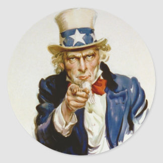 I Want You for U.S. Army by James Montgomery Flagg Classic Round Sticker