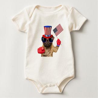 I want you ,pug ,uncle sam dog, baby bodysuit