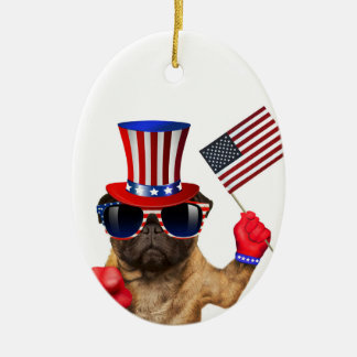 I want you ,pug ,uncle sam dog, ceramic ornament