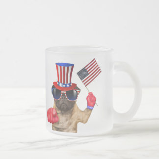 I want you ,pug ,uncle sam dog, frosted glass coffee mug