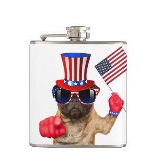 I want you ,pug ,uncle sam dog, hip flask