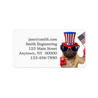 I want you ,pug ,uncle sam dog, label