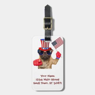 I want you ,pug ,uncle sam dog, luggage tag