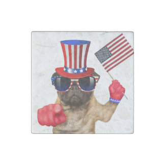 I want you ,pug ,uncle sam dog, stone magnet