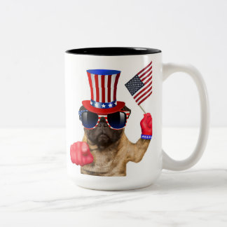 I want you ,pug ,uncle sam dog, Two-Tone coffee mug