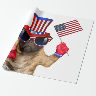 I want you ,pug ,uncle sam dog, wrapping paper