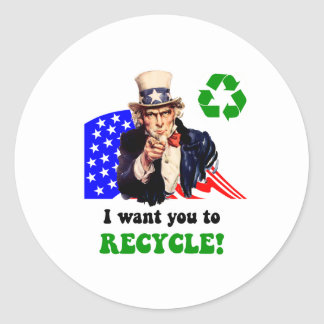 I want you to recycle! classic round sticker
