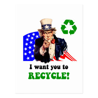 I want you to recycle! post card