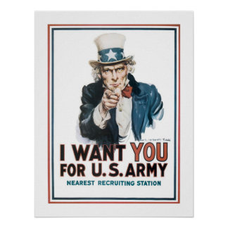 """I Want YOU"" Uncle Sam (border) Poster"