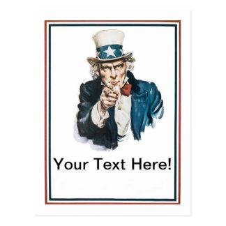 I Want You Uncle Sam Customize Your Text Postcard