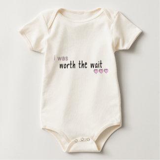 i was worth the wait - pink baby bodysuit