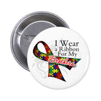 I Wear a Ribbon For My Brothers - Autism Awareness 6 Cm Round Badge