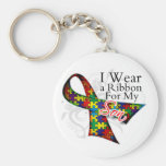 I Wear a Ribbon For My Son - Autism Awareness Basic Round Button Key Ring