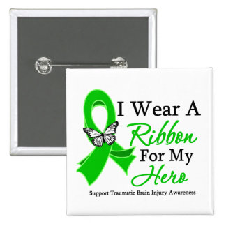 I Wear A Ribbon HERO Traumatic Brain Injury Pinback Button