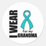 I Wear a Teal Ribbon For My Grandma Round Sticker