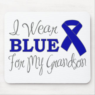 I Wear Blue For My Grandson (Blue Ribbon) Mouse Pad