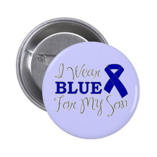 I Wear Blue For My Son (Blue Awareness Ribbon) Button