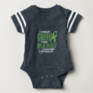I WEAR GREEN FOR BILE DUCT CANCER AWARENESS BABY BODYSUIT