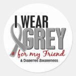 I Wear Grey For My Friend 10 Diabetes Round Stickers