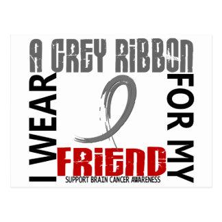 I Wear Grey For My Friend 46 Brain Cancer Postcard