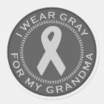 I Wear Grey For My Grandma Round Sticker