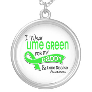 I Wear Lime Green 42 Daddy Lyme Disease Round Pendant Necklace