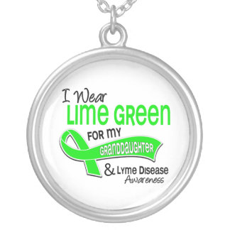 I Wear Lime Green 42 Granddaughter Lyme Disease Round Pendant Necklace