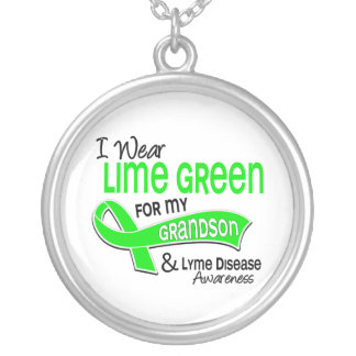I Wear Lime Green 42 Grandson Lyme Disease Round Pendant Necklace