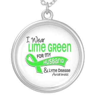 I Wear Lime Green 42 Husband Lyme Disease Round Pendant Necklace