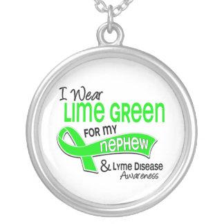 I Wear Lime Green 42 Nephew Lyme Disease Round Pendant Necklace