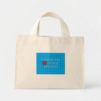 I wear my heart on my sleeves Blue Mini Tote Bag