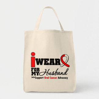 I Wear Oral Cancer Ribbon For My Husband Grocery Tote Bag