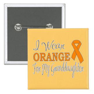I Wear Orange For My Granddaughter (Orange Ribbon) 15 Cm Square Badge