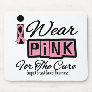 I Wear Pink Breast Cancer For The Cure (Retro) Mousepad