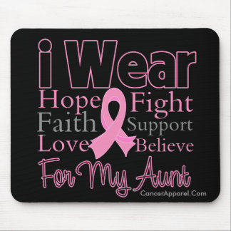 I Wear Pink Collage Aunt - Breast Cancer Mouse Pad