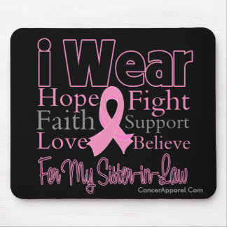 I Wear Pink Collage Sister-in-Law Breast Cancer Mouse Pad