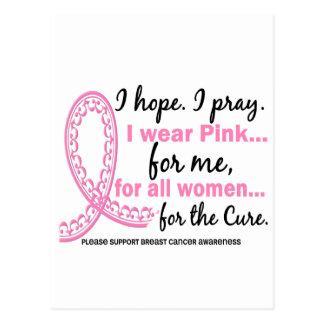 I Wear Pink For ME Filigree Pink Ribbon Post Cards