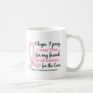 I Wear Pink For My Friend Filigree Pink Ribbon Mug