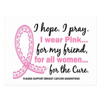 I Wear Pink For My Friend Filigree Pink Ribbon Postcard