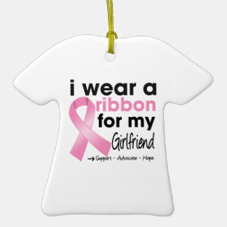 I Wear Pink For My Girlfriend Breast Cancer Christmas Ornaments