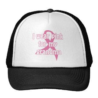 "I wear ""pink for my grandma"" shirt mesh hats"