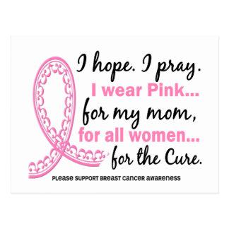 I Wear Pink For My Mom Filigree Pink Ribbon Postcard