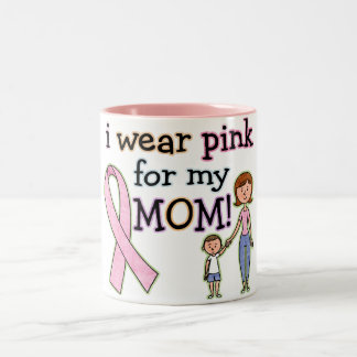 I Wear Pink for My Mom Kids Boys Two-Tone Coffee Mug
