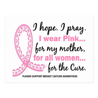 I Wear Pink For My Mother Filigree Pink Ribbon Postcards